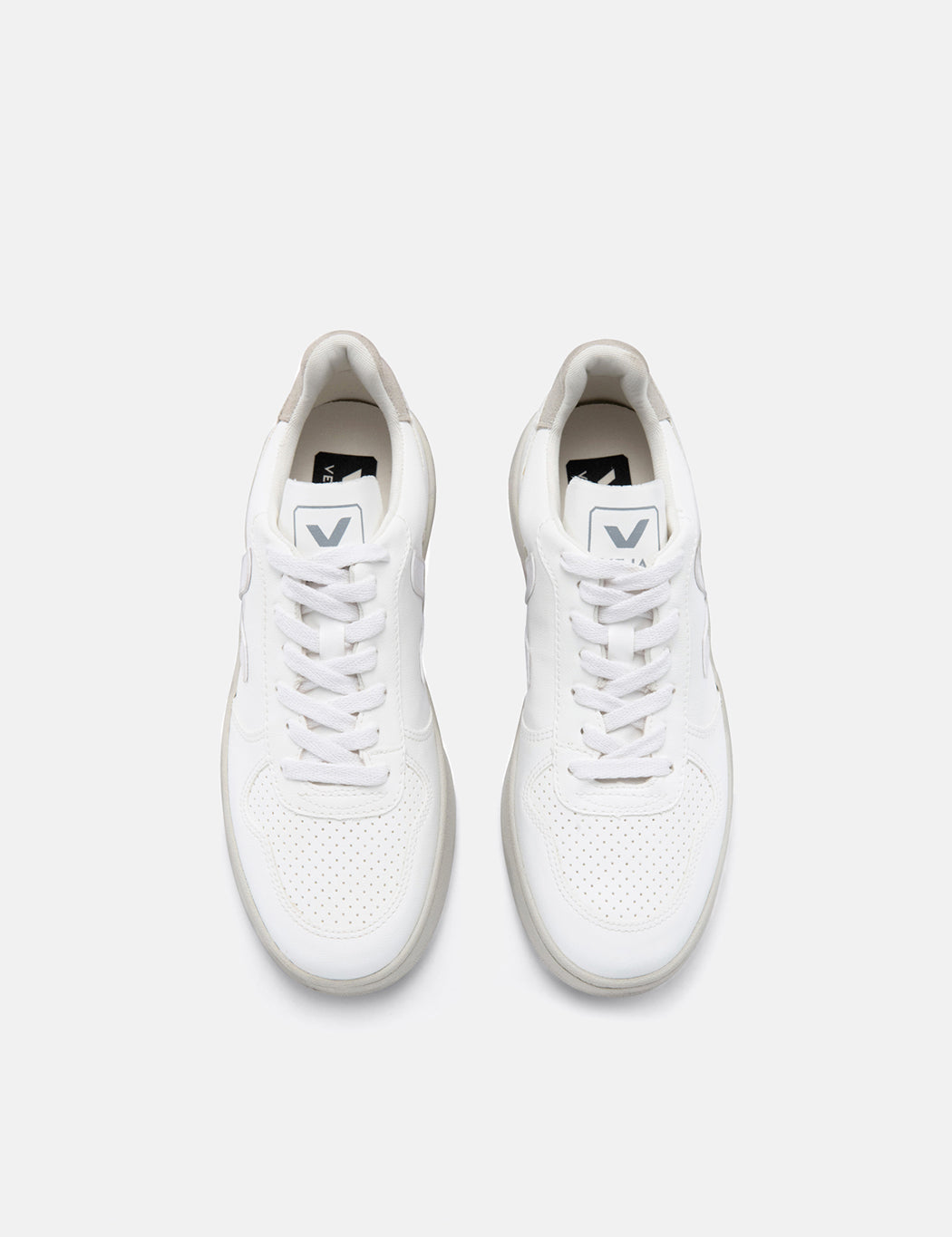 Veja V-10 Bastille Trainers - White/White Natural