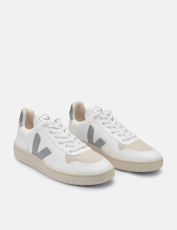 Womens Veja V-10 CWL Trainers - White/Oxford Grey