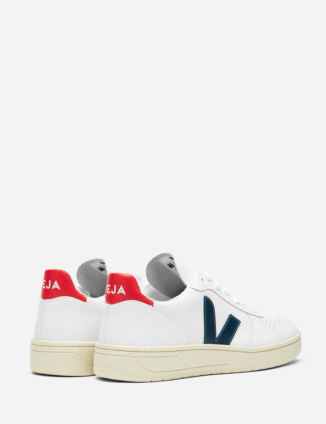 Veja V-10 Leather Trainers - Extra White / Nautico Blue / Pekin Red