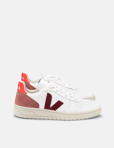Veja V-10 Leather Trainers - Extra White/Marsala Dried Petal/Orange