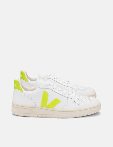 Veja V-10 Leather Trainers - Extra White/Jaune-Fluo