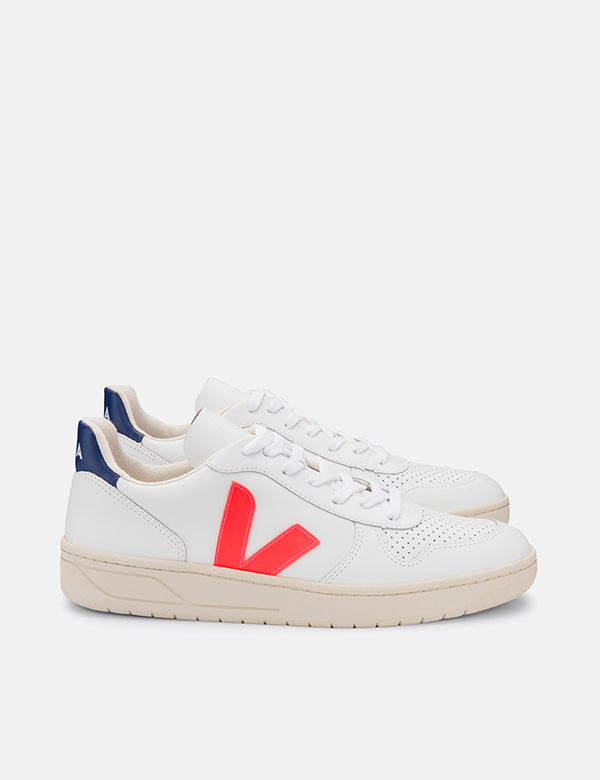 Veja V-10 Leather Trainers - Extra White/Orange Fluo/Cobalt