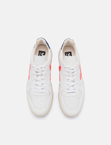 Womens Veja V-10 Leather Trainers - Extra White/Orange Fluo/Cobalt
