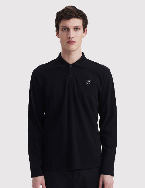 Wood Wood George Long Sleeve Polo Shirt - Dark Navy