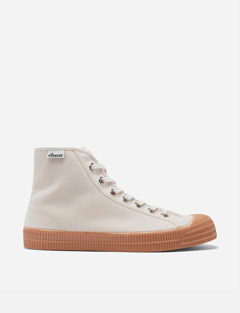 Novesta Star Dribble Hi Trainers (Canvas) - Beige/Gum