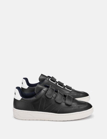 Veja V-12 Leather Trainers - Black/Black
