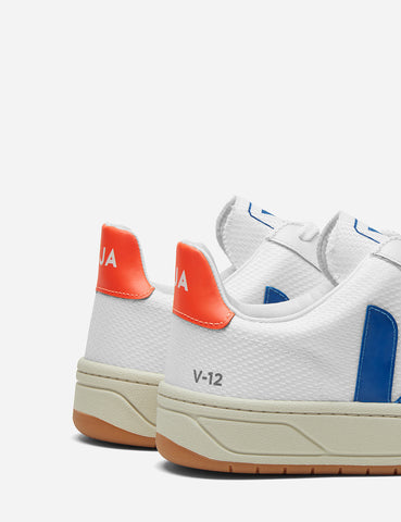 Veja V-12 B-Mesh Trainers - White/Indigo/Orange Fluro