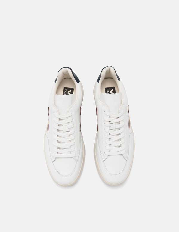 Veja V-12 Leather Trainers - White/Marsala/Nautico