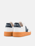 Veja V-12 Leather Trainers (Gum Sole) - Extra White/Nautico