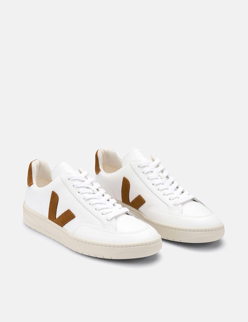 Veja V-12 Leather Trainers - Extra White/Camel