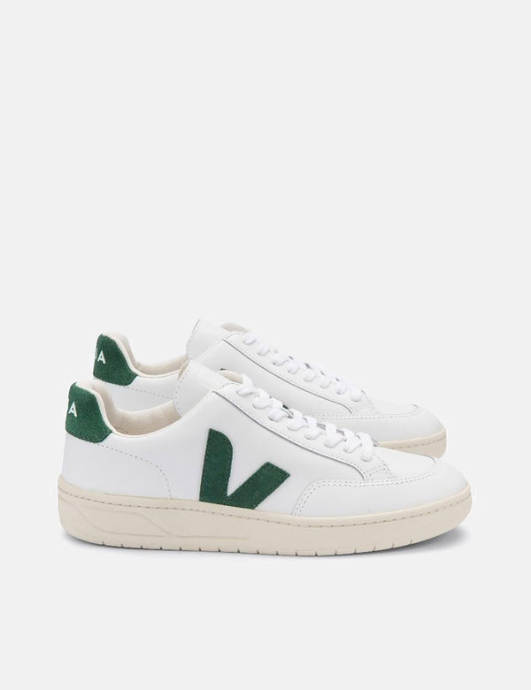 Womens Veja V-12 Leather Trainers - Extra White/Cypress