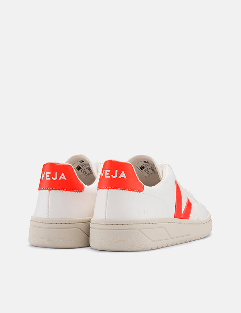 Veja V-12 Leather Trainers - Extra White/Orange Fluo