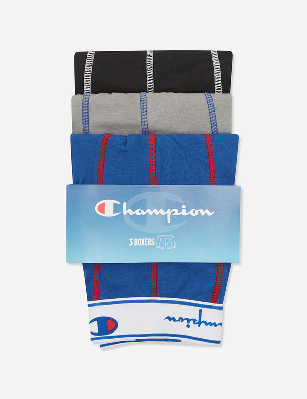 Champion Boxer Shorts (3 pack) - Royal Blue/Grey/Black