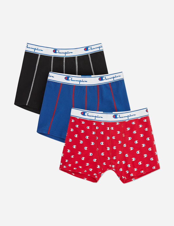 Champion Logo Boxer Shorts (3 pack) - Black/Navy Blue/Red