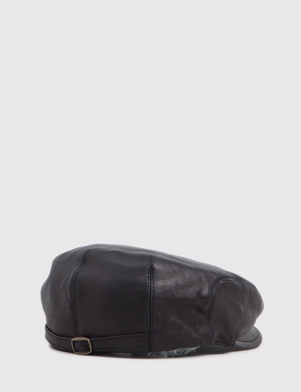 Bailey Stockton Leather Flat Cap - Black