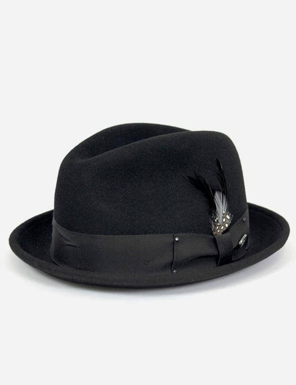 Bailey Tino Felt Crushable Trilby Hat - Black