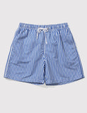 Boardies Stripes Drawstring Swim Shorts (Short Length) - Navy/White