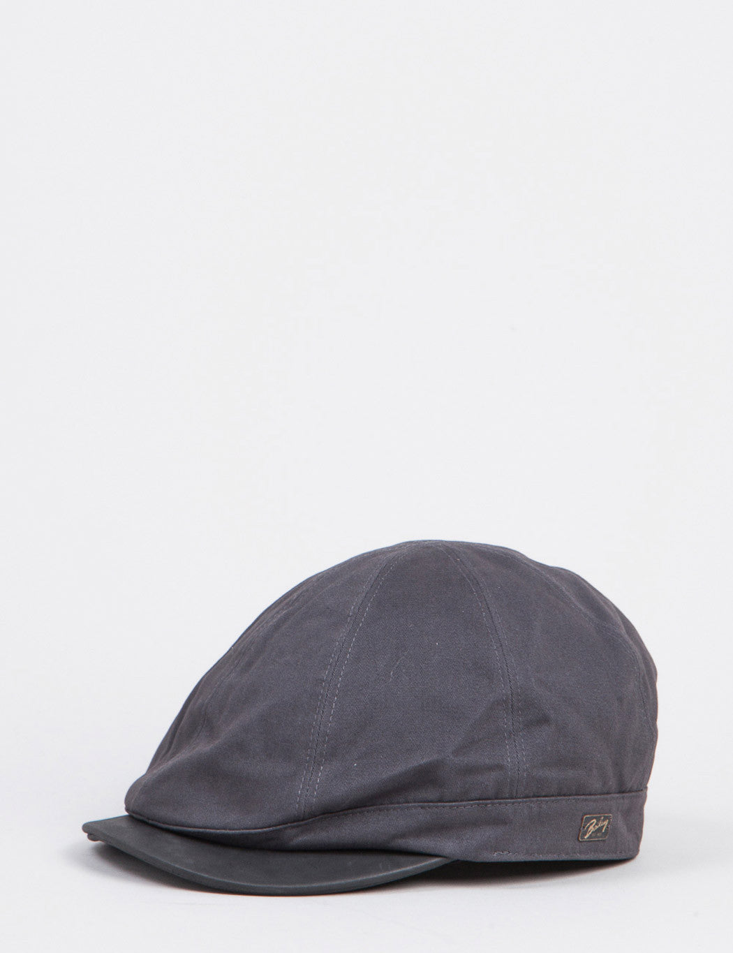 Bailey Rodis Leather Peak Flat Cap - Charcoal