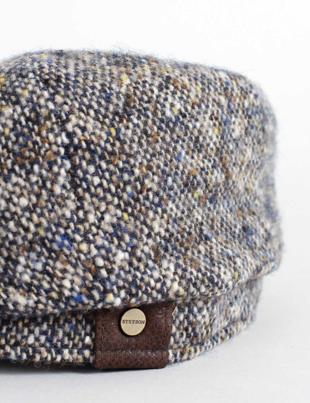 Stetson Hatteras Newsboy Cap - Brown/Blue Donegal