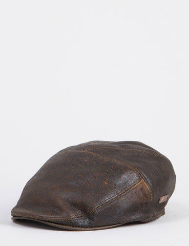 Bailey Taxten Leather Flat Cap - Brown