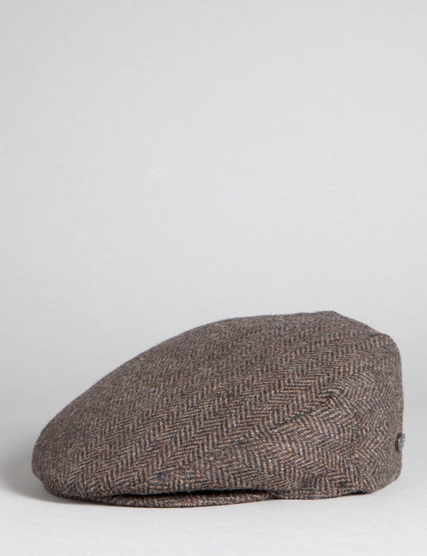 Bailey Lord Herringbone Flat Cap - Brown/Black
