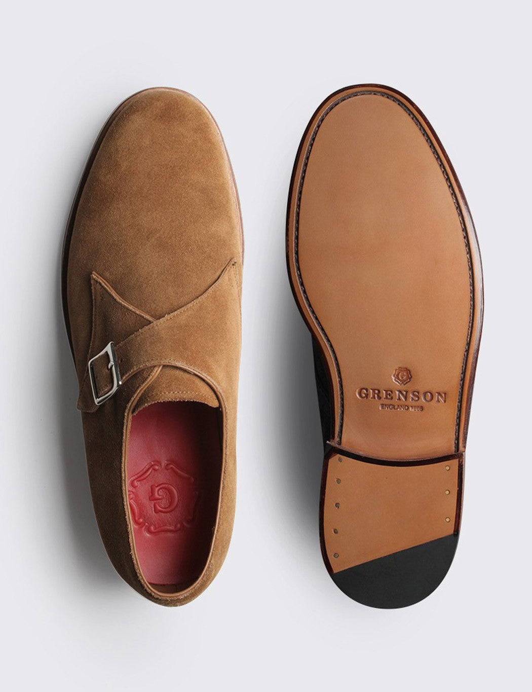 Grenson Nathan Suede Single Buckle Monk - Snuff