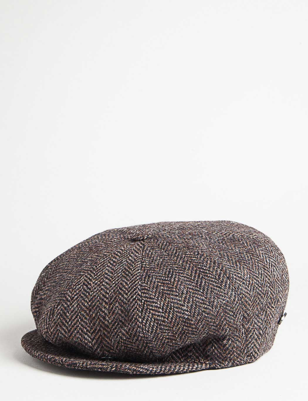 Bailey Galvin Herringbone Newsboy Cap - Brown/Black