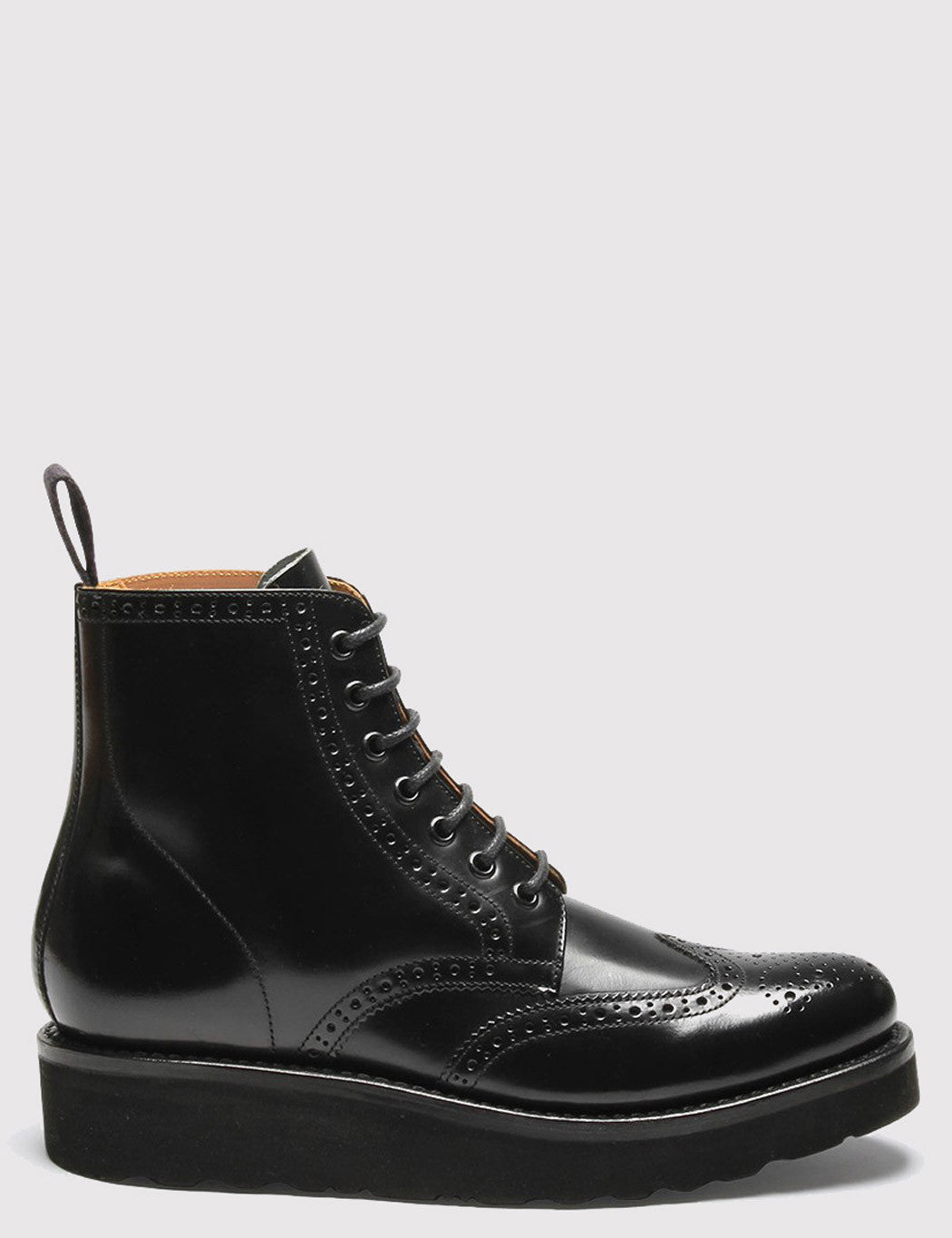 Womens Grenson Emma Brogue Boot - Black/Black
