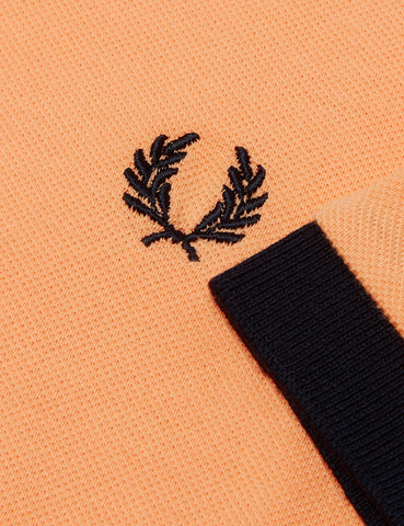 Fred Perry Contrast Rib Pique Polo Shirt - Apricot Nectar