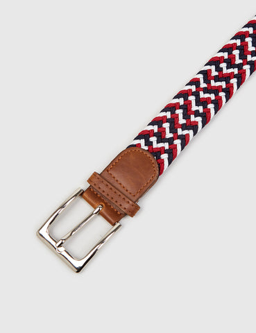 Hone Woven Plait Belt - Burgundy
