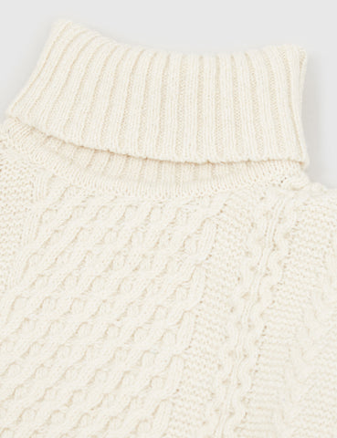 Edwin United Roll Neck Knit Jumper - Natural