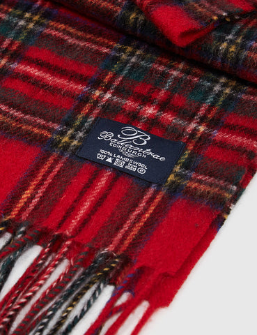 Clans of Scotland Ballantrae Lambs Wool Scarf - Stewart Royal Red