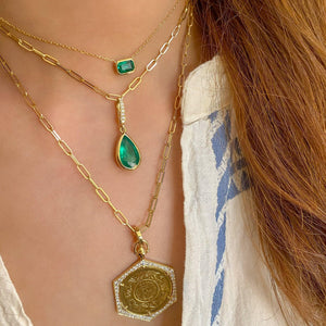 PEAR SHAPED EMERALD CHARM