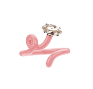 Baby Vine Tendril Ring in Coral Pink