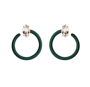 Small Tendril Circle Earrings - Emerald Green