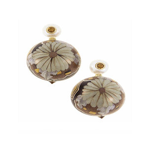 Marquetry Flower Earring