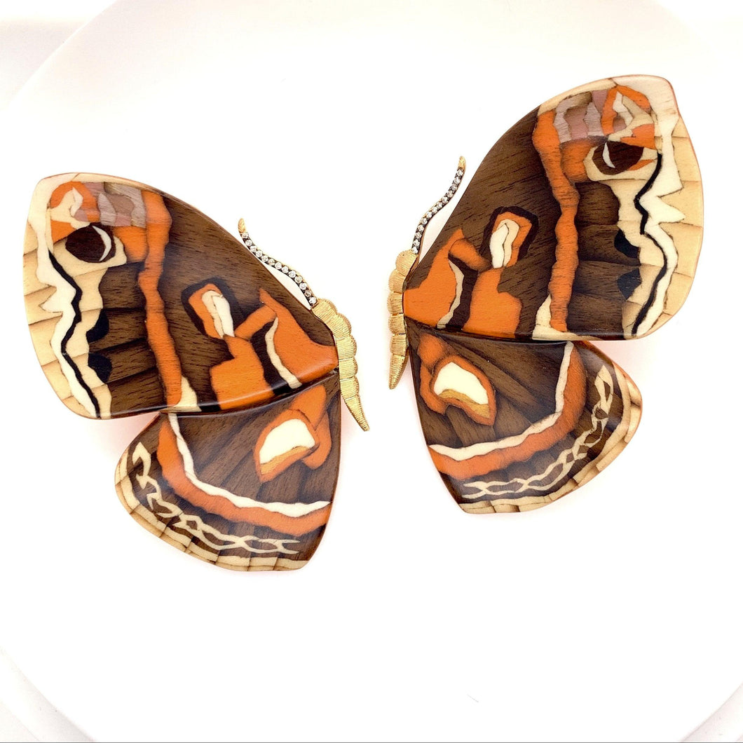 Orange Butterly Marquetry Earrings