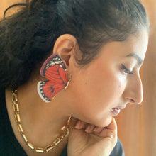 Load image into Gallery viewer, Red Butterly Marquetry Earrings