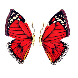 Red Butterly Marquetry Earrings