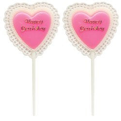 Pink Happy Birthday Heart Pick - 144 Count