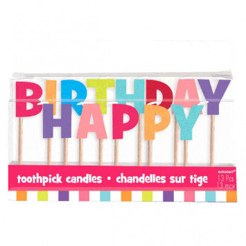 Happy Birthday Toothpick Candles - Pastel