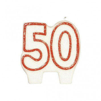 #50 Red Glitter Numeral Candle