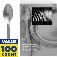 Amscan Big Party Pack Silver Plastic Spoons