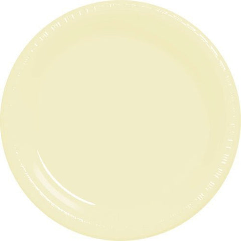 Amscan Big Party Pack Vanilla Creme Plastic Lunch Plates
