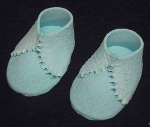 Baby Shoes - Knit Embossed - Blue Pair