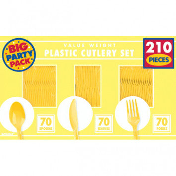 Light Yellow Value Window Box Cutlery Set, 210ct