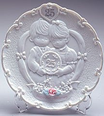 Precious Moments 25th Anniversary Plate w/ Stand