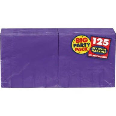 Amscan Big Party Pack New Purple Beverage Napkins