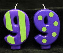 Crazy Number Candles- # 9 12 Count