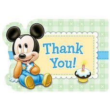 Mickey 1st Birthday Thank You Notes